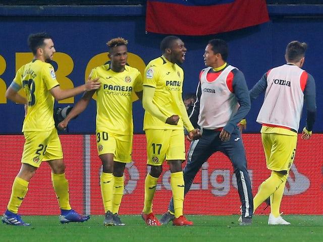 Villarreal players celebrate scoring against Barcelona in La Liga on April 2, 2019