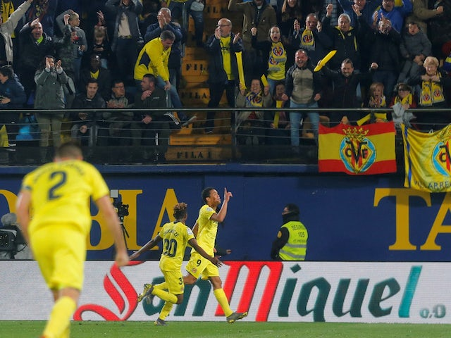 Villarreal striker Carlos Bacca celebrates scoring against Barcelona on April 2, 2019