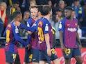 Barcelona players celebrate scoring against Villarreal on April 2, 2019