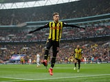 Gerard Deulofeu celebrates his second, and Watford's third, against Wolverhampton Wanderers on April 7, 2019