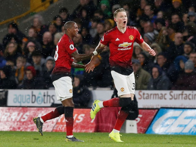 Scott McTominay celebrates scoring for Manchester United against Wolverhampton Wanderers in the Premier League on April 2, 2019.