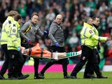 Celtic's Ryan Christie is stretchered off after sustaining an injury against Aberdeen on April 14, 2019