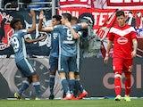 Bayern Munich's Kingsley Coman celebrates scoring their second goal against Fortuna Dusseldorf on April 14, 2019