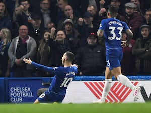 Hazard scores brace to lift Chelsea up to third