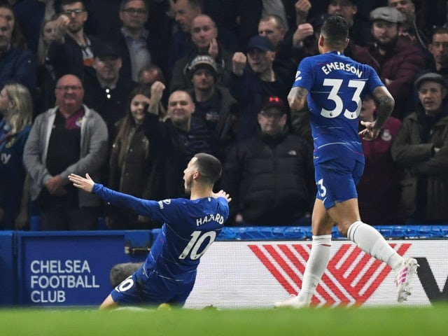 Chelsea forward Eden Hazard winds up the opposition fans after opening the scoring against West Ham United on April 8, 2019