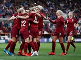 England Women celebrate scoring against Spain on April 9, 2019