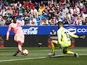 Barcelona's Ousmane Dembele in action against Huesca in La Liga on April 13, 2019
