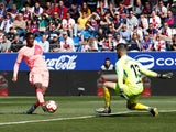 Barcelona's Ousmane Dembele in action against Huesca in La Liga on April 13, 2019