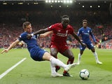 Chelsea's Cesar Azpilicueta challenges Liverpool's Sadio Mane in the Premier League at Anfield on April 14, 2019