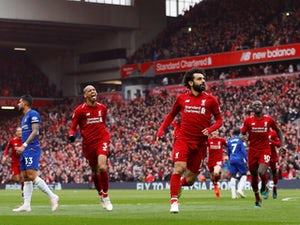 Liverpool's Mohamed Salah celebrates scoring against Chelsea in the Premier League at Anfield on April 14, 2019