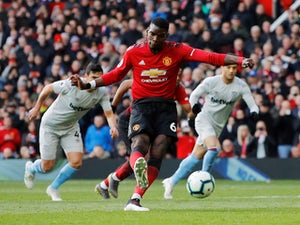 Manchester United's Paul Pogba scores against West Ham United in the Premier League on April 13, 2019