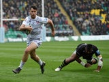 Gloucester's Mark Atkinson runs in to score a try against Northampton