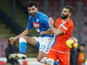 SPAL's Mirco Antenucci in action with Napoli's Raul Albiol in Serie A on December 22, 2018