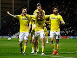 Leeds United's Patrick Bamford celebrates scoring their second goal against Preston on April 9, 2019