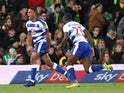 Reading's Andy Rinomhota celebrates scoring their second goal against Norwich on April 11, 2019
