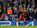 Liverpool striker Roberto Firmino celebrates scoring against Porto on April 9, 2019