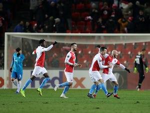 Slavia Prague celebrate scoring against Zenit St Petersburg in Europa League on December 13, 2018.