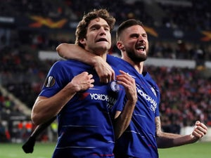 Marcos Alonso celebrates scoring for Chelsea against Slavia Prague in the Europa League on April 11, 2019.