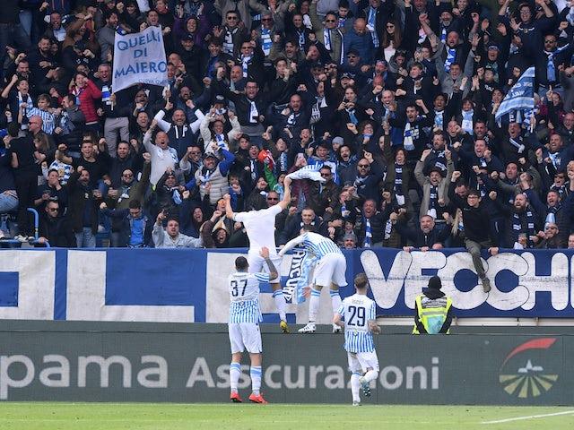 SPAL's Sergio Floccari celebrates scoring their second goal against Juventus with teammates on April 13, 2019
