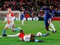 Chelsea's Willian attempts to break forward against Slavia Prague in the Europa League on April 11, 2019.