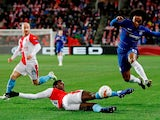 Chelsea's Willian attempts to break forward against Slavia Prague in the Europa League on April 11, 2019.