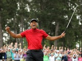 Tiger Woods celebrates winning the Masters on April 14, 2019