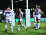 Leicester Tigers celebrate victory at full time against Newcastle Falcons on April 12, 2019