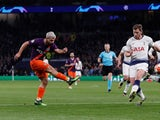 Manchester City's Sergio Aguero gets a shot away against Tottenham Hotspur in the Champions League on April 9, 2019.
