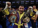 Vasyl Lomachenko celebrates winning the fight against Anthony Crolla on April 13, 2019