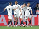 Valencia's Daniel Wass celebrates scoring their second goal against Villarreal with teammates on April 11, 2019