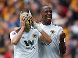 Wolverhampton Wanderers Raul Jimenez celebrates with a mask during the FA Cup semi-final against Watford on April 7, 2019