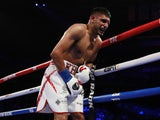 Amir Khan after a low blow shot from Terence Crawford on April 21, 2019