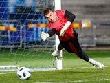Ukrainian goalkeeper Andriy Lunin in Real Madrid training ahead of the 2018-19 campaign