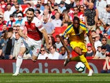 Sead Kolasinac and Aaron Wan-Bissaka in action during the Premier League game between Arsenal and Crystal Palace on April 21, 2019
