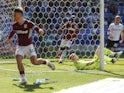 Aston Villa's Jack Grealish celebrates scoring their first goal against Bolton on April 19, 2019