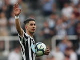 Newcastle United's Ayoze Perez celebrates scoring a hat-trick against Southampton on April 20, 2019