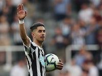 Newcastle United's Ayoze Perez celebrates scoring a hat-trick against Southampton on April 20, 2019