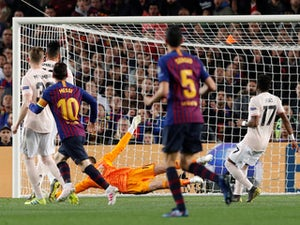 Barcelona's Lionel Messi scores against Manchester United in the Champions League on April 16, 2019