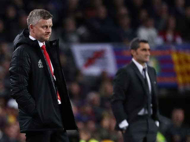 Manchester United boss Ole Gunnar Solskjaer looks on during the Champions League clash with Barcelona on April 16, 2019