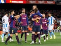 Barcelona players celebrate Clement Lenglet's goal against Real Sociedad on April 20, 2019