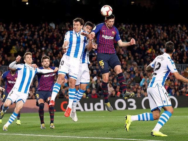 Barcelona defender Clement Lenglet scores the opening goal against Real Sociedad on April 20, 2019