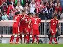Bayern Munich's Niklas Sule celebrates scoring their first goal with teammates on April 20, 2019