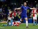 Chelsea's Pedro celebrates scoring against Slavia Prague in the Europa League on April 18, 2019.