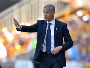 Brighton boss Chris Hughton gives orders on April 20, 2019