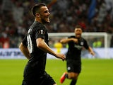 Filip Kostic celebrates scoring for Eintracht Frankfurt on April 18, 2019