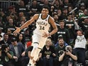 Giannis Antetokounmpo in action for the Bucks on April 14, 2019