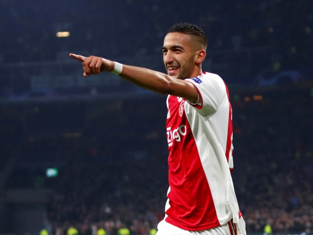 Ajax's Hakim Ziyech celebrates scoring his side's first goal against Real Madrid in February 2019