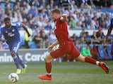 Reds veteran James Milner doubles his side's advantage from the spot during the Premier League game between Cardiff City and Liverpool on April 21, 2019