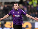 Fiorentina midfielder Jordan Veretout celebrates scoring against Inter Milan in February 2019