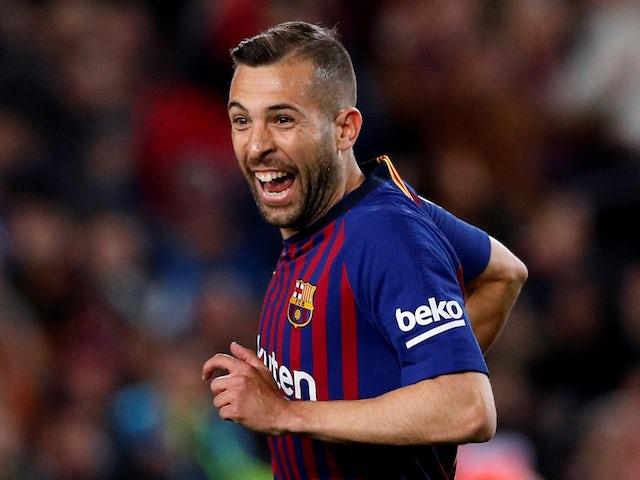 Barcelona full-back Jordi Alba celebrates scoring against Real Sociedad on April 20, 2019